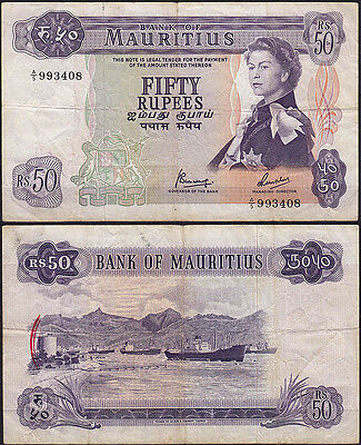 Mauritius 50 Rupees Banknotes 1967 F/VF Pick 33c - A/5 993408  (11700