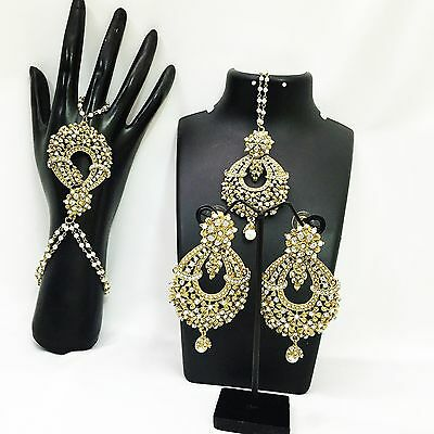 New Indian Bollywood Style Party Wear Hand Piece, Tikka & Earrings with Pearls