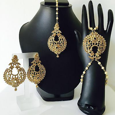 New Indian Bollywood Style Party Wear Gold Hand Piece, Panja, Tikka & Earrings