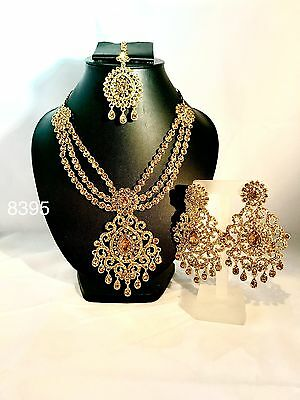 New Indian Bollywood Costume Jewellery Necklace Set Gold Finish Party Wear