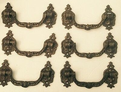 Antique French Ornate  Heavy Cast Bronze Lot of 6 Hardware Drawer Pulls