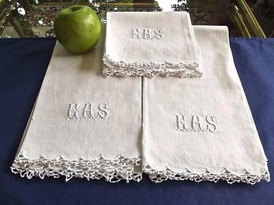 3 Antique White Huck Linen Bath Face Shaving Towels Crochet Lace Monogram EAS