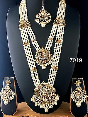 New Indian Bollywood Style Party Wear Long Pearl Necklace Set Party Wear