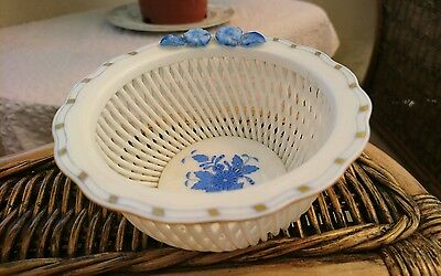 Rare Vintage Herend Porcelain Hand Painted Basket Weave. Lattice Dish No 7376/ab