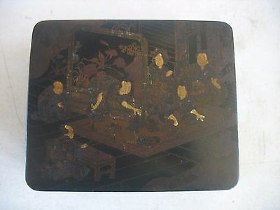 """ANTIQUE CHINESE? ASIAN JAPANESE? 7"""" by 6"""" PAPER PAPIER MACHE BOX"""