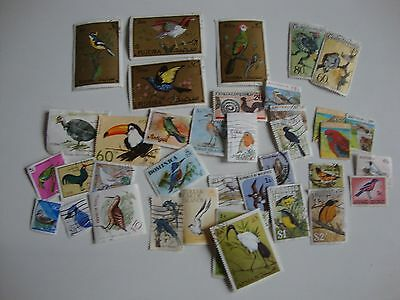 Small Collection of 35 Worldwide Thematic Stamps - Birds.