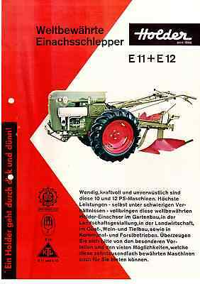 Original Prospekt Brochure Holder Einachs - Schlepper E11 Und E 12