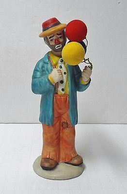 "7.5"" Flambro Emmett Kelly Jr. Collection Clown Figurine with Balloons, Mint"