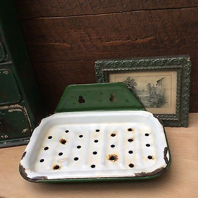 Vintage Shabby~Chic Green & White Enamel Wall Mounted Soapdish & Drainer.