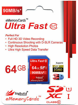 64GB Memory card for Vivitar DVR 990 Camcorder   Class 10 80MB/s SD SDXC New UK