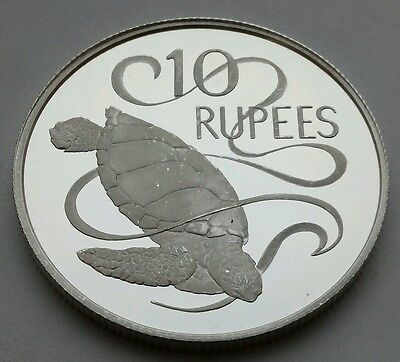 Seychelles 10 Rupees 1974. KM#20a .925 Silver Proof Crown coin. Green Sea Turtle