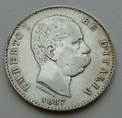 Italy 1 Lira 1887M. KM#24.2. Silver One Dollar  coin. Umberto I. One year issue
