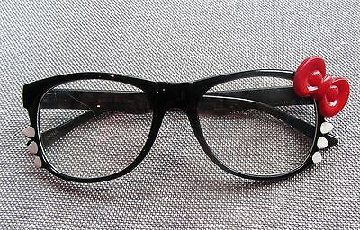 Cute Kitsch Hello Kitty Black Frames White Whiskers Red Bow Clear Lens Glasses