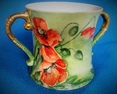 Antique Shelley Porcelain Loving Cup Signed Dated Wild Poppies