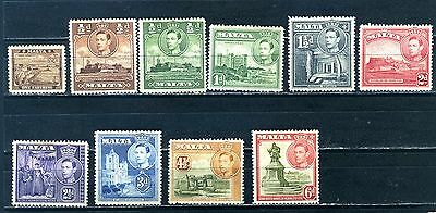 George VI  Malta 1938-43  10 Mint Stamps one farthing to 6d