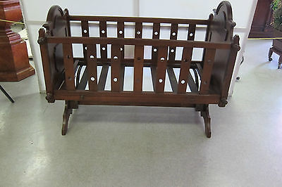 Antique Solid Walnut Baby Cradle