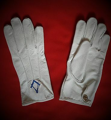 Masonic white leather gloves
