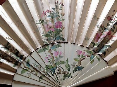 Antique Bovine Cow Bone Hand Painted Silk Fan For Repair
