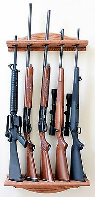 Gun Rack - Vertical Wall Mount 5-Gun Rack Oak Wood