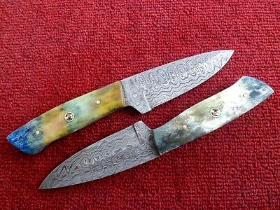 Knives For Sale Damascus Steel Fixed Blade Skinner Knives Lot Of Two With Cover