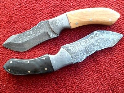 Handmade Knives For Sale Damascus Steel Fixed Blade Skinner Knives Lot Of Two