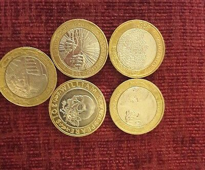 5 x rare 2 pound coins iconic figures. Inc Shakespeare and Dickens
