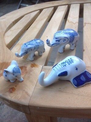 Early Delft Style Blue and White miniature Elephants