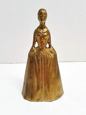 Virginia Metalcrafters Brass Bell Figural Colonial Woman - Marked With VMC Logo
