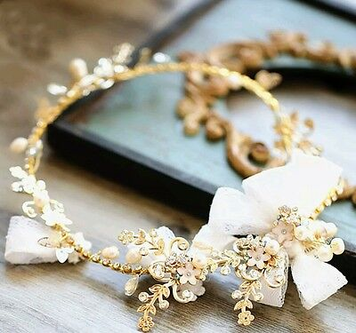 New lace & gold wedding hair accessory / tiara / vine / garland.