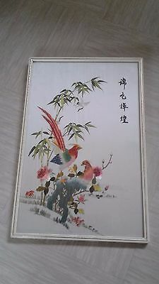 vintage Chinese framed embroidery picture