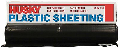 HUSKY 6 Ft. X 100 Ft. Black 6 Mil. Plastic Sheeting Polyethylene Heavy Duty NEW