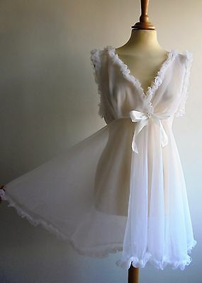 Vintage 1960/70's White Negligee Babydoll Nighty Night Dress UK12 Wedding/Bridal