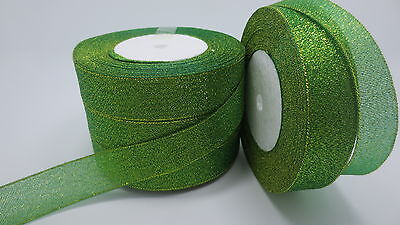"""NEW 5yards 1 """"25mm glitter ribbons Bling for DIY Wreaths decorated and Bows T5PF"""