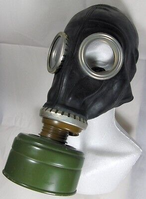 Soviet Russian GP-5 Cold War Black Gas Mask Set Filter Bag Unused Military Stock