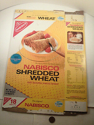 "ORIGINAL 1974-vintage (Paperboard) ""Nabisco SHREDDED WHEAT"" (empty) CEREAL BOX!"