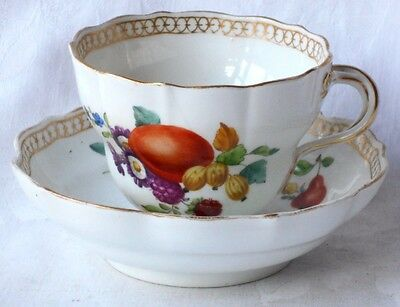 Early C19Th Meissen Hand Painted Cup And Saucer Decorated With Fruit
