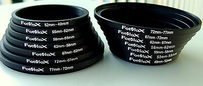 "Fotodiox 7 Step Up & 7 Step Down Black Metal Filter Adapter Rings ""new"" 2 Sets"