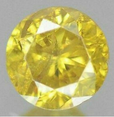 0.40cts 4.6mm Rare Round Fancy Canary Yellow Natural Loose Diamond