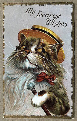 Vintage 1907 Dressed CAT in Hat with Cane My Dearest Wishes POSTCARD