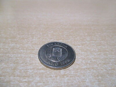 Iceland - One Krona - 1 Kr Coin - 1996 - Nickel Plated Steel - Giant Cod.