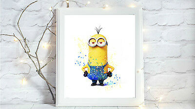 minion Watercolor glossy Print poster a4 paint splatter picture gift 3 UNFRAMED