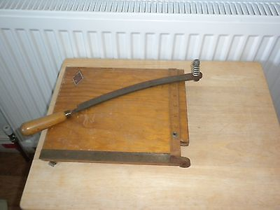 Vintage Wooden Guillotine NEBRO Paper / Photo Trimmer with Measuring Rule