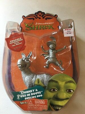 Donkey Puss In Boots Shrek Posable Collectible Figure Dreamworks Silver