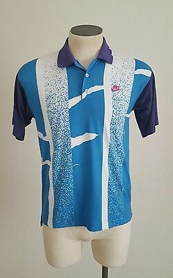 Vintage 90's Nike Challenge Court Air Tech Medium Andre Agassi Tennis Polo Usa