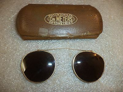 Vtg Antique Motorcycle Steampunk Clip on Wire Rim Round Sun Glasses