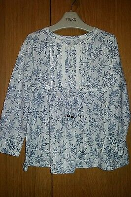 Next girls immaculate cream & blue floral summer top age 3-4 years