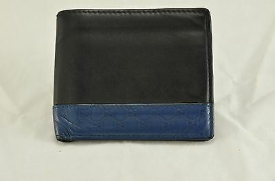 Gucci Black Leather Bifold Wallet With Blue Microguccissima Trim