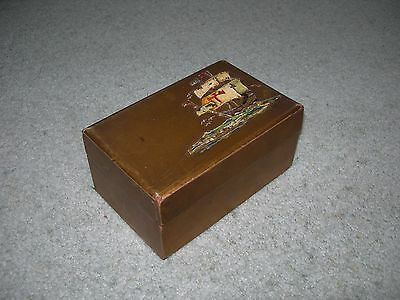 VINTAGE WOODEN GOLD COLOURED TRINKET BOX with Galleon in Full Sail ~ Felt Lined