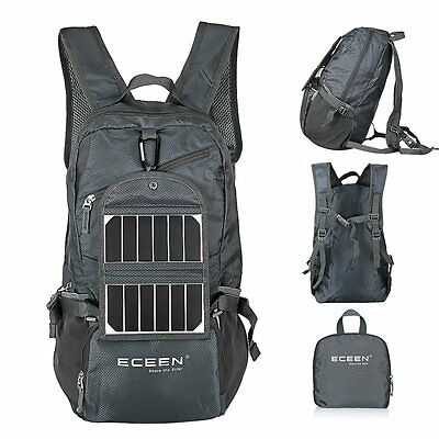 Hiking Backpack Day Pack Portable Charger Solar Power Bank Eco Cycling Rucksack