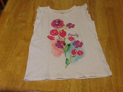 The Children's Place Girls Sleeveless Shirt, Size M 7/8, White With Flowers